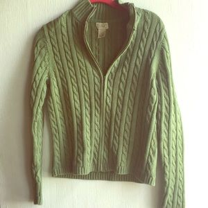 LL Bean Green Cable Knit Zip up sweater SZ S
